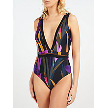 Buy Ted Baker Orchisa Abstract Jungle Swimsuit, Black/Multi Online at johnlewis.com