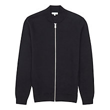 Buy Reiss Fuller Knitted Bomber Jacket, Indigo Online at johnlewis.com
