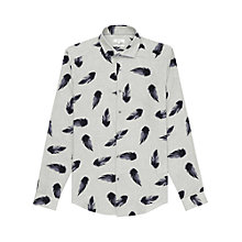 Buy Reiss Lumineer Feather Print Slim Fit Shirt, Grey Online at johnlewis.com