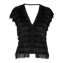 Buy Whistles Lexi Sparkle Tassle Top, Black Online at johnlewis.com