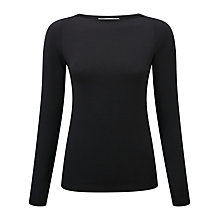 Buy Pure Collection Sidney Slash Neck Top, Black Online at johnlewis.com