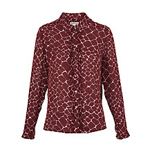 Buy Whistles Giraffe Print Silk Shirt, Burgundy Online at johnlewis.com