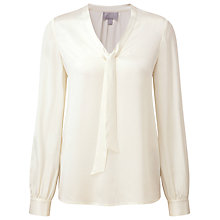 Buy Pure Collection Ellen Silk Tie Neck Blouse, Ivory Online at johnlewis.com