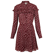 Buy Whistles Giraffe Print Silk Dress, Burgundy Online at johnlewis.com