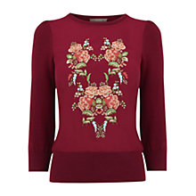 Buy Oasis Embroidered Puritan Knit, Burgundy Online at johnlewis.com