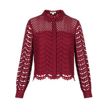Buy Whistles Penny Crop Lace Shirt, Raspberry Online at johnlewis.com