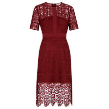Buy Whistles Alisa Lace Dress, Burgundy Online at johnlewis.com