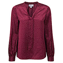 Buy Pure Collection Harper Silk Tie Neck Blouse, Merlot Spot Print Online at johnlewis.com