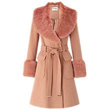 Buy Miss Selfridge Faux Fur Cuff Coat, Rose Pink Online at johnlewis.com