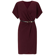 Buy Miss Selfridge Belted Wrap Dress, Burgundy Online at johnlewis.com
