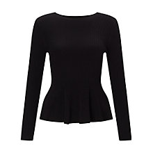 Buy Miss Selfridge Petite Long Sleeve Peplum Top, Black Online at johnlewis.com
