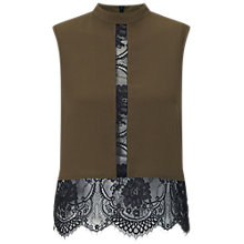 Buy Miss Selfridge Lace Hem Shell Top, Khaki Online at johnlewis.com