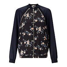 Buy Miss Selfridge Floral Print Bomber Jacket, Navy Online at johnlewis.com