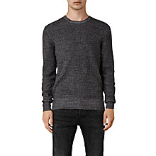 Buy AllSaints Serle Waffle Cotton Jumper, Cinder Black Marl Online at johnlewis.com