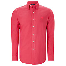 Buy Polo Ralph Lauren Garment-Dyed Standard Fit Oxford Cotton Shirt, Tropic Pink Online at johnlewis.com