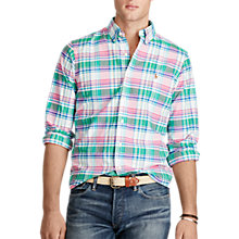 Buy Polo Ralph Lauren Button Down Pin Point Sport Shirt, Green/Pink Online at johnlewis.com