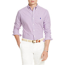 Buy Polo Ralph Lauren Button Down Check Poplin Shirt, Navy/Pink Online at johnlewis.com