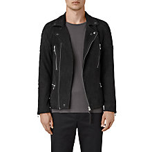 Buy AllSaints Kenji Suede Biker Jacket, Washed Black Online at johnlewis.com