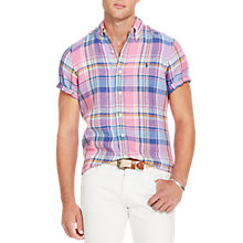 Buy Polo Ralph Lauren Linen Standard Fit Button Down Collar Shirt Online at johnlewis.com