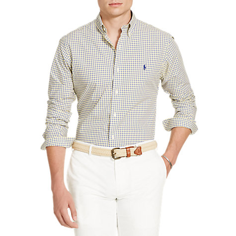 Buy Polo Ralph Lauren Checked Cotton Poplin Standard Fit Shirt, Navy/Yellow Online at