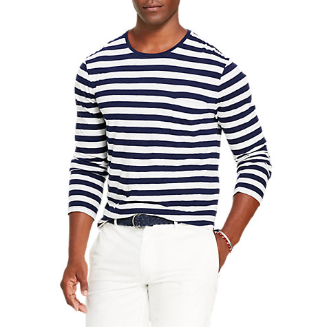Buy Polo Ralph Lauren Striped Long Sleeve T-Shirt, Cruise Navy/White Online