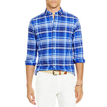 Buy Polo Ralph Lauren Plaid Cotton Relaxed Fit Shirt, Navy/Blue Online at johnlewis.com