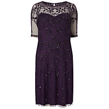 Buy Adrianna Papell Plus Size Fully Beaded Cocktail Dress, Amethyst Online at johnlewis.com
