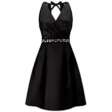 Buy Adrianna Papell Mikado Bead Belt Cocktail Dress, Black Online at johnlewis.com