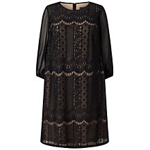 Buy Adrianna Papell Plus Size Striped Lace Shift Dress, Black/Pale Pink Online at johnlewis.com
