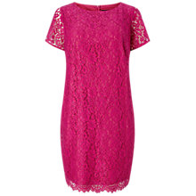 Buy Adrianna Papell Plus Size Katie Lace Shift Dress, Hot Pink Online at johnlewis.com