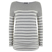 Buy Mint Velvet Stripe Block T-Shirt, Silver/Grey Online at johnlewis.com