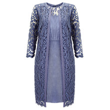 Buy Adrianna Papell Lace Yoke Shimmer Dress And Duster Coat, Steel Blue Online at johnlewis.com