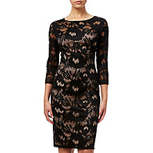 Buy Adrianna Papell Lace Sheath Dress, Black/Pale Pink Online at johnlewis.com