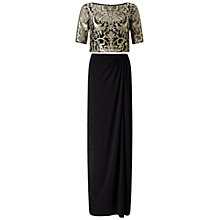 Buy Adrianna Papell Two Piece Lace Top And Skirt Set, Black/Gold Online at johnlewis.com