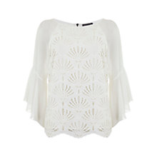 Buy Mint Velvet Lace Fluted Sleeve Top, Cream Online at johnlewis.com