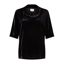 Buy East Silk Velvet Bardot Top, Black Online at johnlewis.com