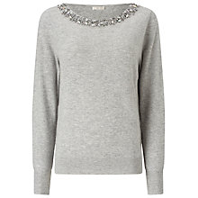 Buy Jacques Vert Bling Neck Detail Jumper, Light Grey Online at johnlewis.com