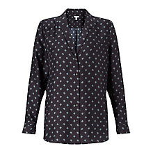 Buy Jigsaw Linear Square Silk Blouse, Navy Online at johnlewis.com