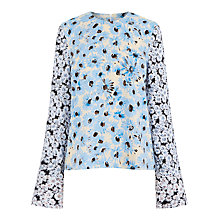 Buy Warehouse Daisy Long Sleeve Top, Neutral Print Online at johnlewis.com