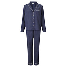 Buy Jigsaw Phoebe Melange Pyjama Set, Navy Online at johnlewis.com