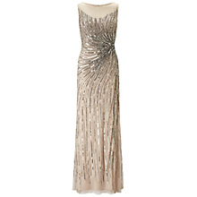 Buy Adrianna Papell Sleeveless Beaded Mermaid Slit Gown, Taupe Pink Online at johnlewis.com