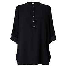 Buy East Crepe Buttoned Round Neck Shirt, Black Online at johnlewis.com
