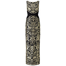 Buy Adrianna Papell Sleeveless Lace Column Gown, Black/Gold Online at johnlewis.com