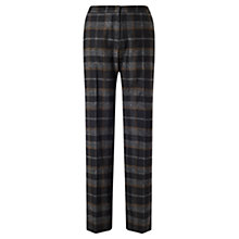Buy Jigsaw Plaid Parallel City Trousers, Black Online at johnlewis.com