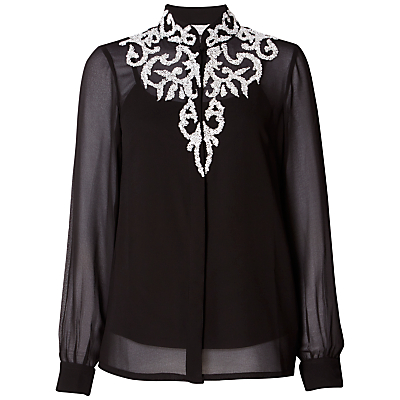 Edwardian Style Blouses Raishma Beaded Shirt Black £120.00 AT vintagedancer.com