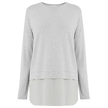 Buy Warehouse Long Sleeve Woven Hem Top, Light Grey Online at johnlewis.com