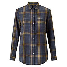 Buy Jigsaw Cotton Check Classic Shirt, Navy Online at johnlewis.com