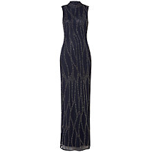 Buy Raishma High Collar Slim Embroidered Maxi Dress, Navy Online at johnlewis.com