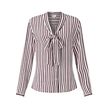 Buy East Silk Stripe Pussybow Shirt, Ivory Online at johnlewis.com
