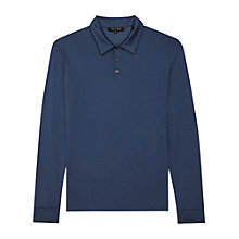 Buy Reiss Elmore Mercerised Cotton Long Sleeve Polo Shirt, Airforce Blue Online at johnlewis.com